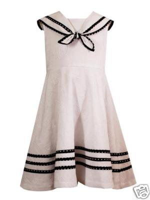 Rare editions white embroidered navy sailor dress 4 for sale