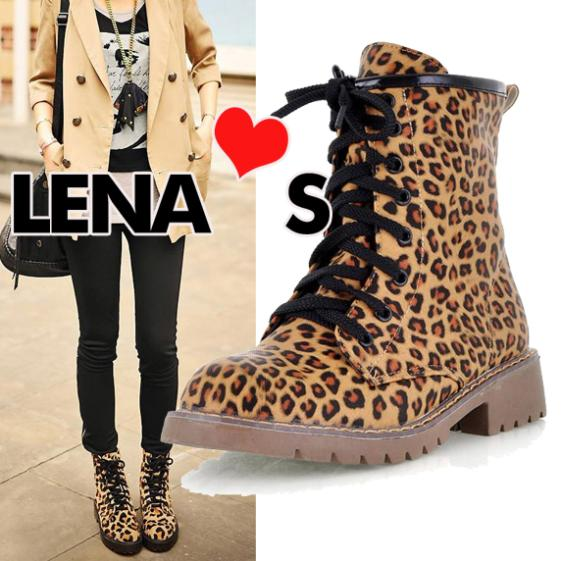 women's martin boots leopard women's combat boots strap women's motorcycle boots SA0463-in Boots from Shoes on Aliexpress.com