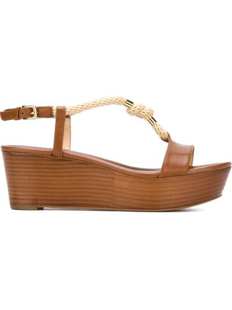 women sandals leather cotton brown shoes