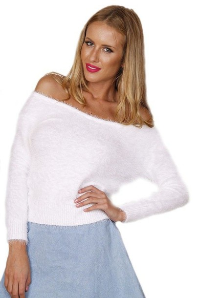 41593ee2500 Shoppable tips. Best tips. advertising. $50. Not mentioned. ustrendy.com. White  Off the Shoulder Fluffy Sweater.