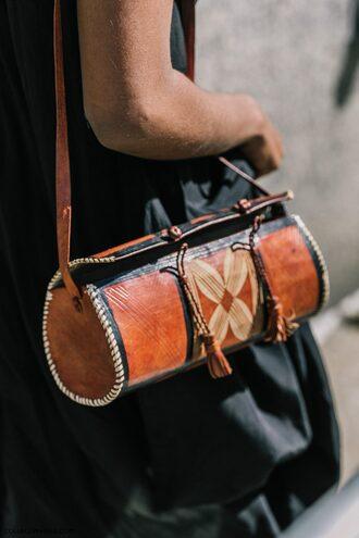 bag fashion week street style fashion week 2016 fashion week ny fashion week 2016 brown bag tumblr western boho boho chic leather bag round bag