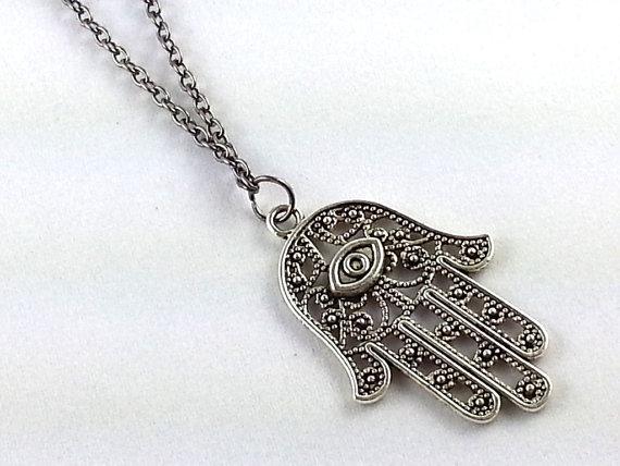 long necklace silver hamsa necklace minimalist door simpleJshop