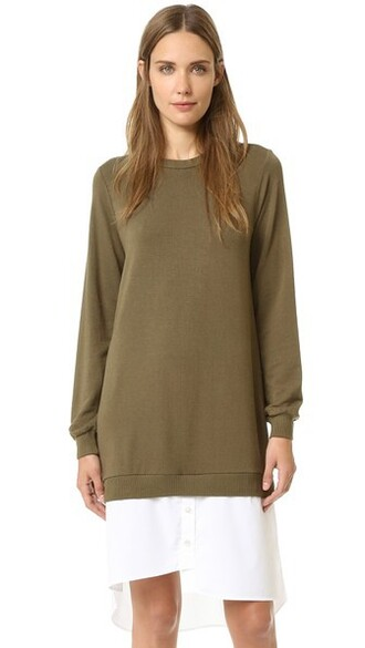 dress sweatshirt dress khaki green