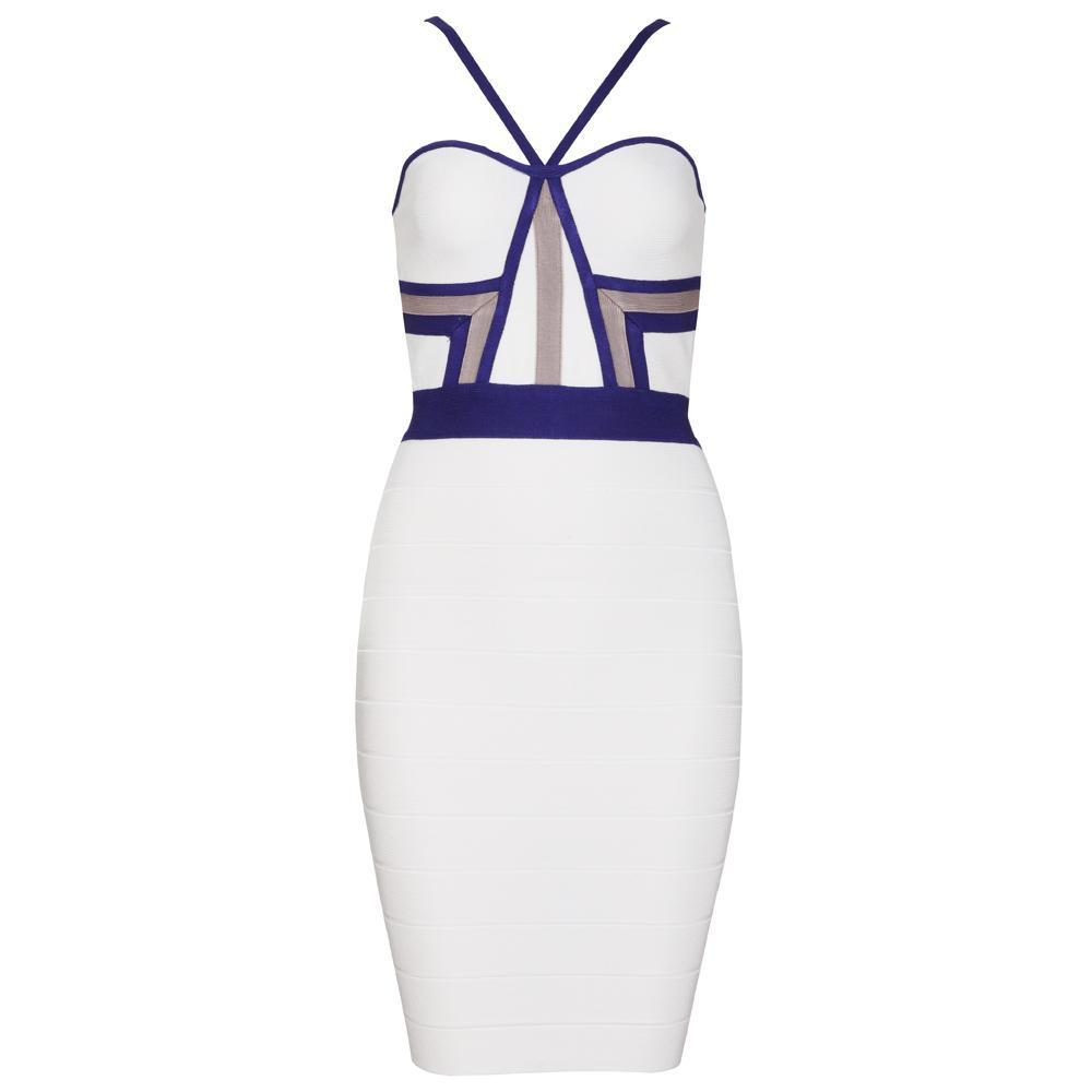 Blue White Gray Bandage Bodycon Midi Pencil Dress — GIRL CRUSH BOUTIQUE