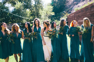 green wedding shoes blogger flower crown rustic wedding chic teal blue dress bridesmaid wedding dress long bridesmaid dress