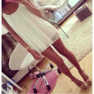 dress white loose pretty shoes nude white dress short white dress