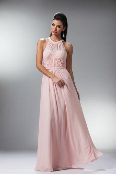 pink blush bridesmaid chiffon dress long length