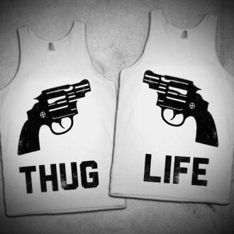 shirt thug life tank top black and white gun