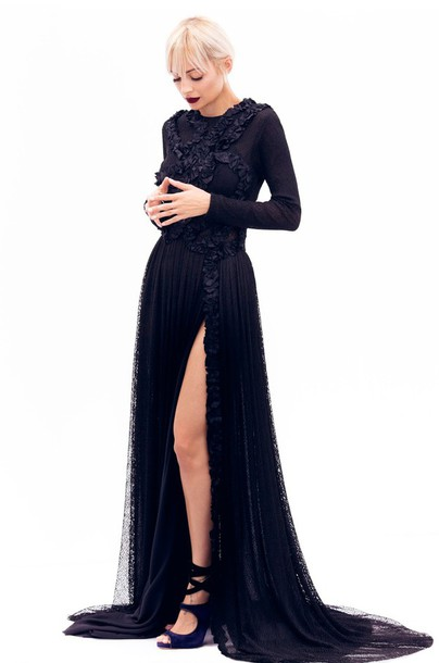 Dress All Black Everything Prom Dress Sandals Slit Dress Slit