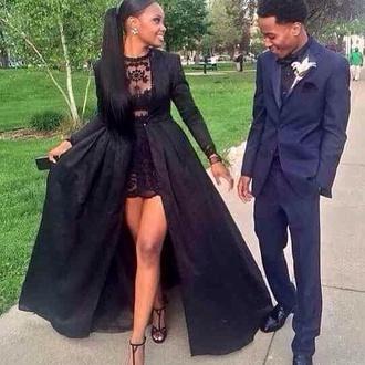 dress black lace prom dress