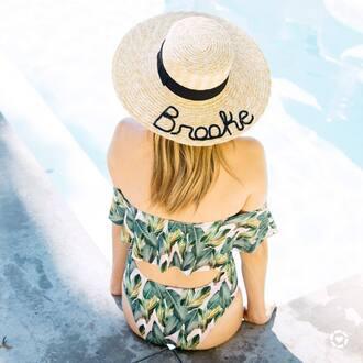 hat tumblr swimwear swimwear two piece bikini bikini top bikini bottoms off the shoulder bikini off the shoulder