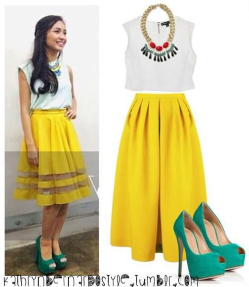 yellow dress white shirt