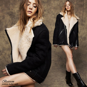 Oversized Faux Shearling FUR Jacket Loose FIT Coat Black SZ ONE ...