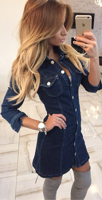 dress summer dress denim denim dress outfit outfit idea tumblr outfit fall outfits streetwear