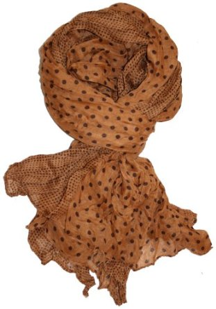 Amazon.com: LibbySue-Border Print Polka-Dot Crinkle Scarf in a Choice of Colors, Brown: Clothing