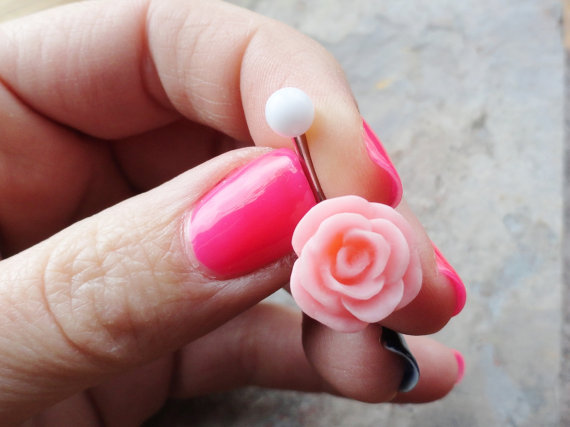 Blush Pink Rose Flower Belly Button Ring by MidnightsMojo on Etsy