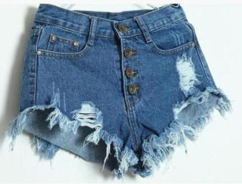 Frayed Edges Breasted Cotton Denim Shorts