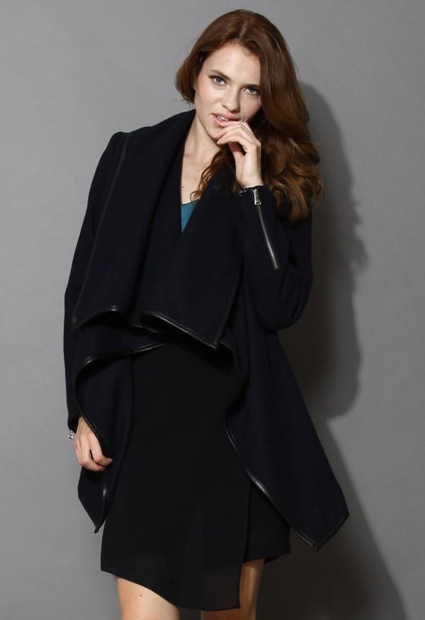 chicwish chic statement waterfall navy drape coat