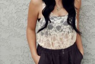 lace tank top white lace transparent top see through tank top