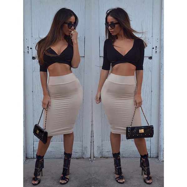 top top half sleeve crop top cross over top cross over crop top black crop top black crop top v neck mini skirt pencil skirt beige pencil skirt crop tops bustier crop top
