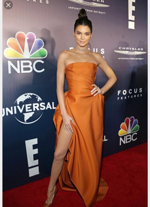 dress orange dress kendall jenner
