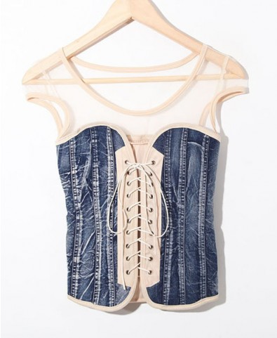 Mesh & denim lace up tops
