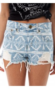 Limited Edition Frayed Aztec Denim Shorts -  from The Fashion Bible  UK
