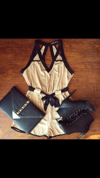 romper beige black cut-out