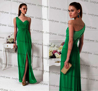dress women dress long prom dress green prom dress one shoulder prom dress one shoulder dress