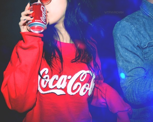 sweater red sweater coca cola