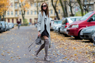 vogue haus blogger coat skirt shoes bag sunglasses belt jewels fall outfits grey coat grey boots grey bag thigh high boots zara topshop stuart weitzman saint laurent gucci marc jacobs marc jacobs watch hermes coffee