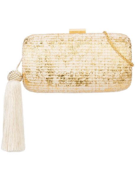 KAYU metallic tassel women bag clutch nude