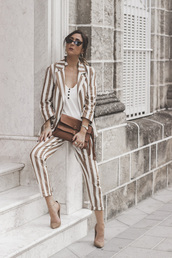 shoes and basics,blogger,jacket,pants,bag,shoes,suit,striped pants,striped jacket,pumps,fall outfits