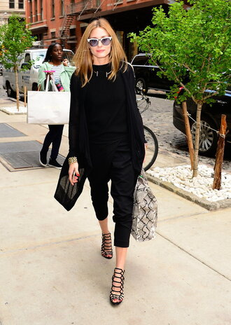 shoes top sandals olivia palermo all black everything pants cardigan