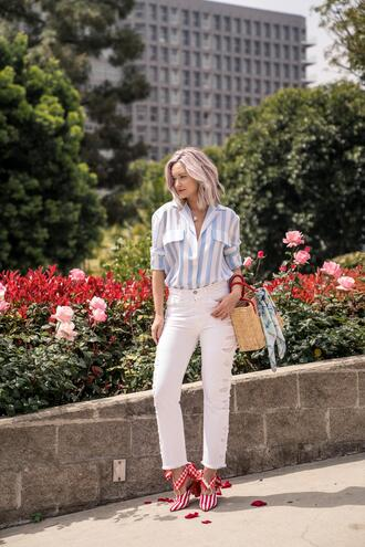 late afternoon blogger jeans top shoes bag scarf jewels striped shirt white pants spring outfits basket bag