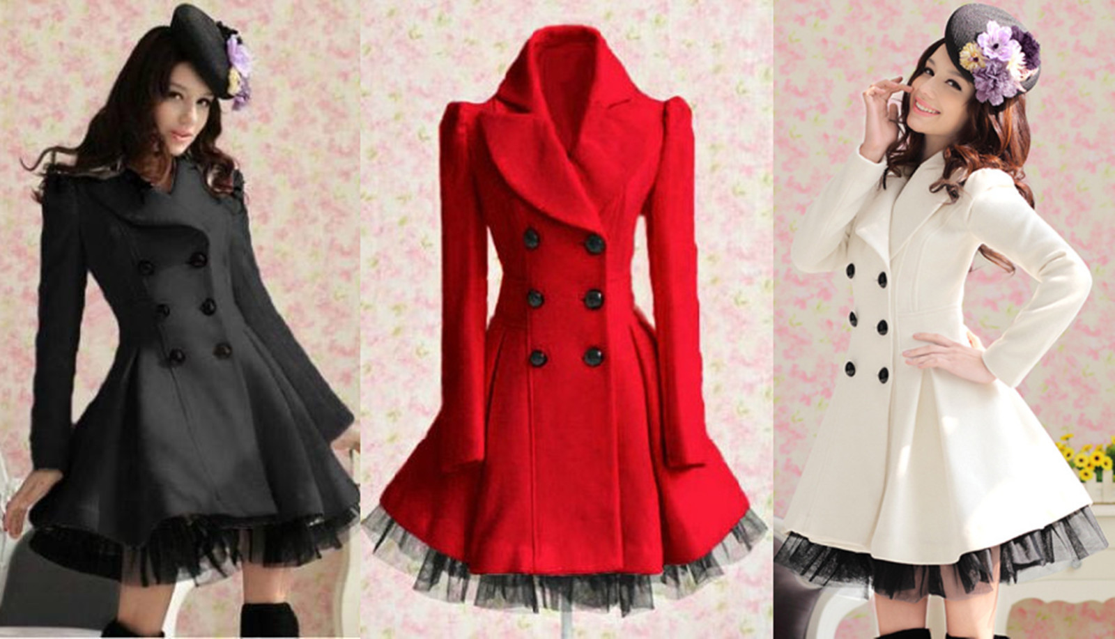 Women Slim Wool Blend Trench Warm Coat Dress Jacket Double ...