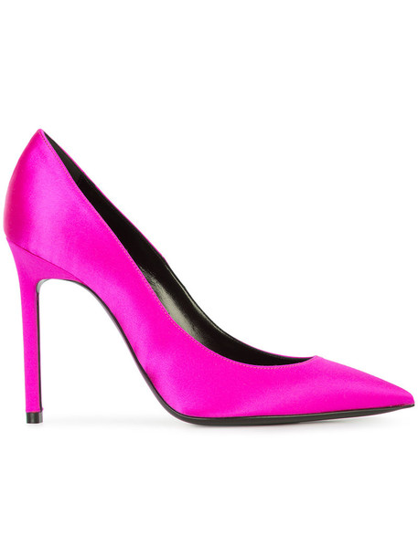 women pumps leather purple pink satin shoes