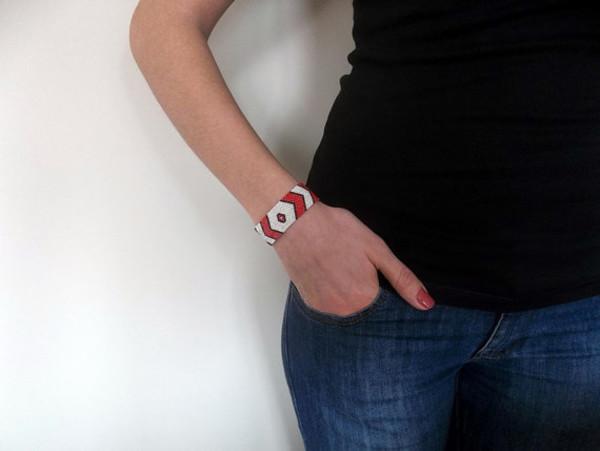 jewels jewelry bracelets chevron handmade red bracelet beadwork bracelet red white geometric peyote