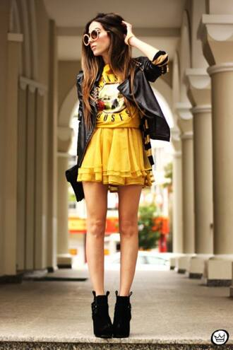 shirt clothes rock guns and roses yellow t-shirt skirt