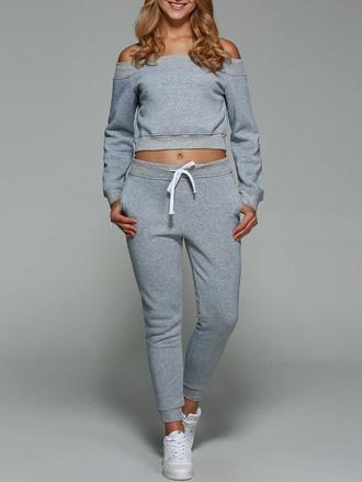 sweater grey fashion sporty off the shoulder yoga pants sportswear long sleeves zaful