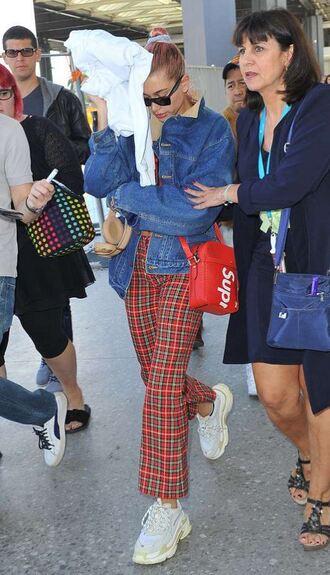 pants plaid cannes streetstyle hailey baldwin model off-duty denim denim jacket