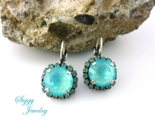 jewels,siggy jewelry,swarovski,earrings,opal,pacific opal,mint,blue,aqua,drop earrings,lever back,style,fashion,etsy,fashionista,streetstyle,valentines day gift idea