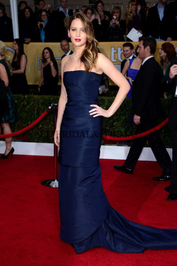 dress jennifer lawrence long dress navy 19th annual screen actors guild awards celebrity style evening dress