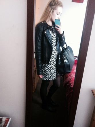 dress geometric shift dress black and white dress casual casual dress boots leather jacket