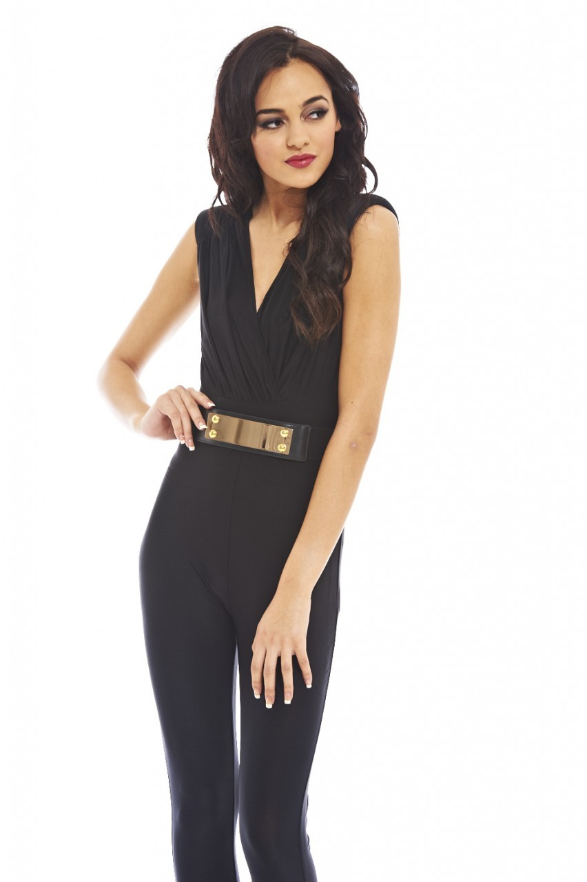Black Wrap Front Gold Belt Long Leg Jumpsuit