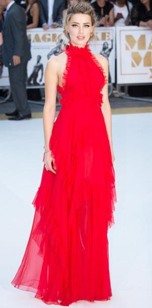 Dress Gown Prom Dress Wedding Dress Red Dress Amber Heard