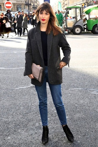 jacket jeanne damas blazer grey blazer jeans denim blue jeans boots black boots bag top black top