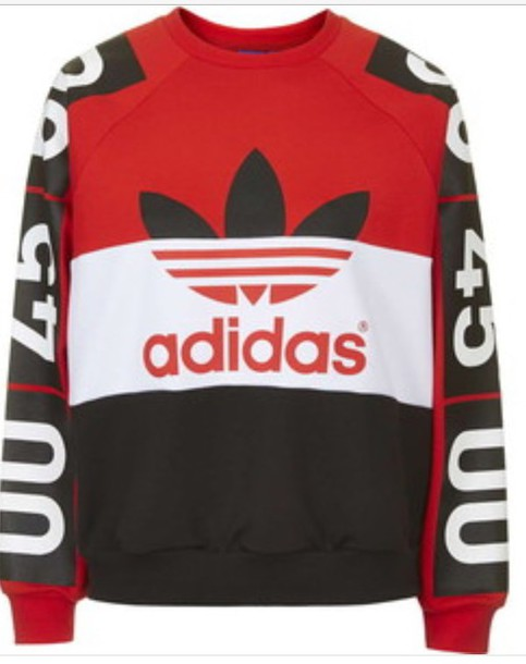 sweater adidas red white black number