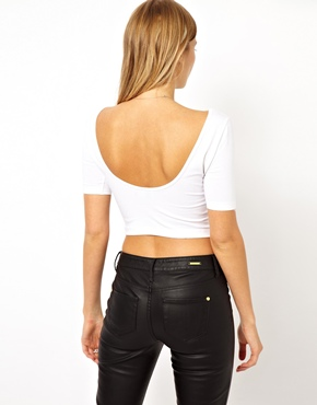 ASOS | ASOS Crop Top with Half Sleeve and Scoop Back at ASOS