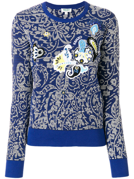 Kenzo sweater printed sweater women cotton blue